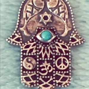 Jewelry - Vintage Silver Hamsa Hand with enlayed Turquoise